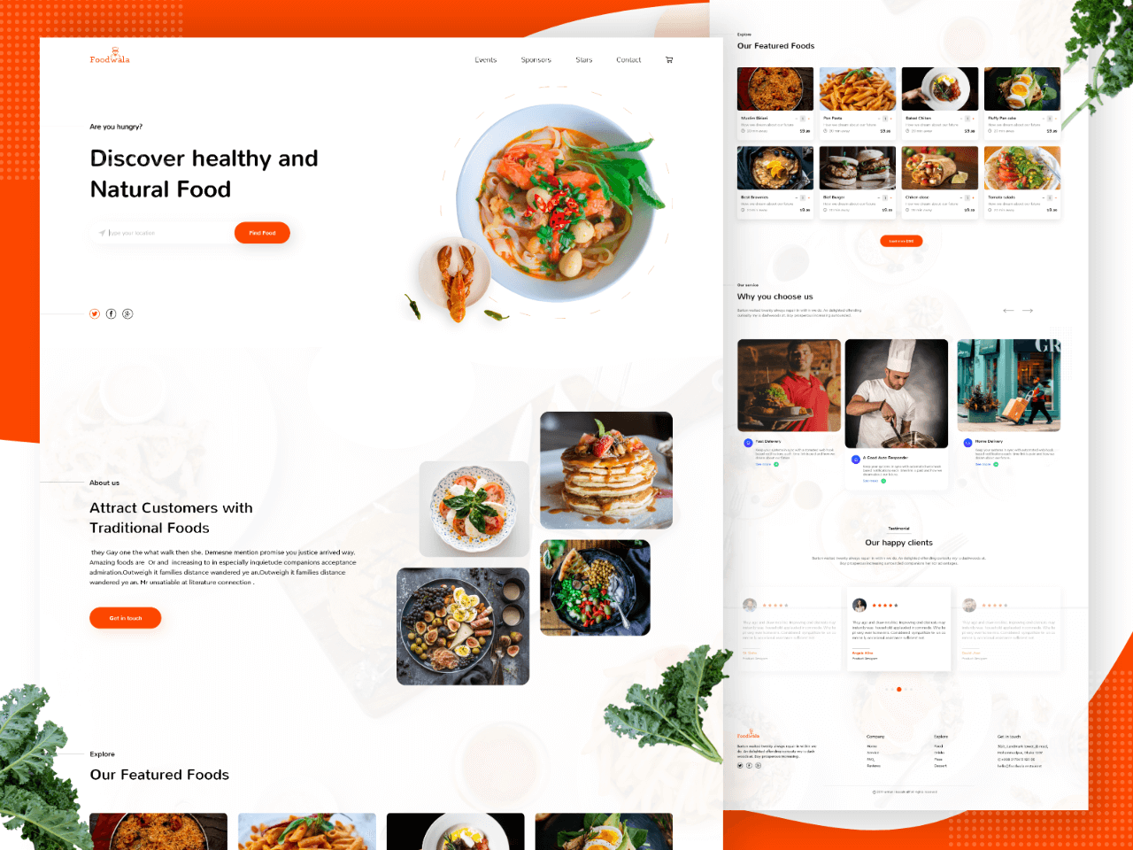 Food Landing Page Free Xd Resource Adobe Xd Elements