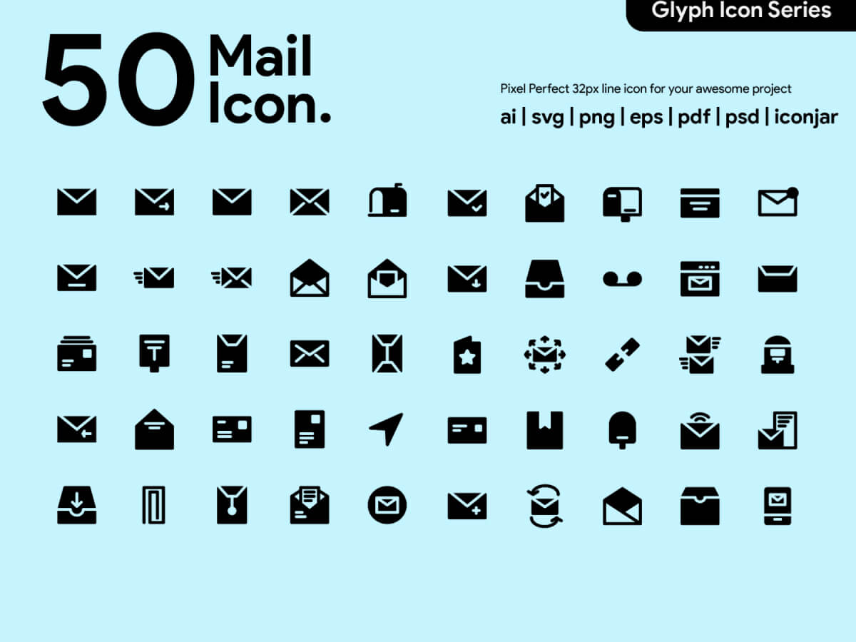 Mail Glyph Icons for Adobe XD