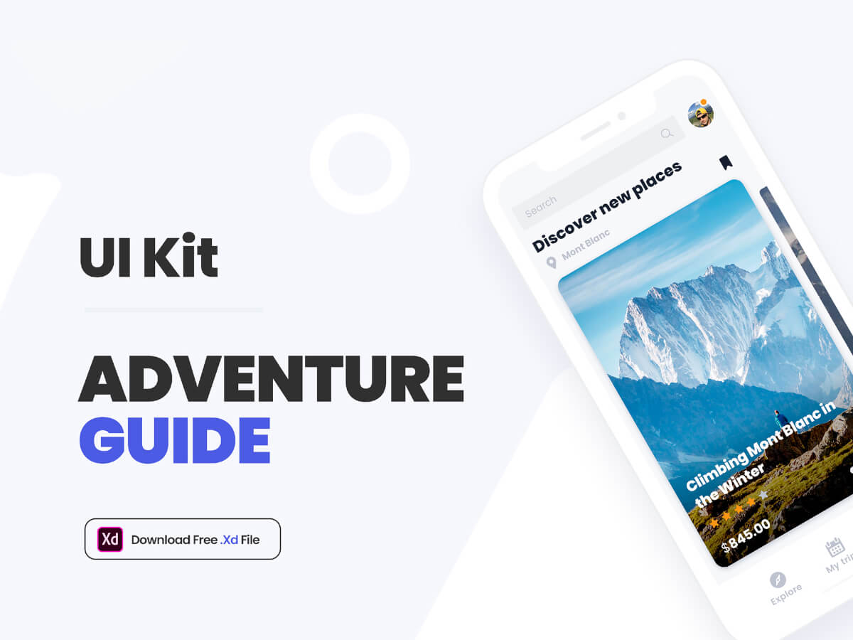 Adventure Guide Adobe XD UI Kit