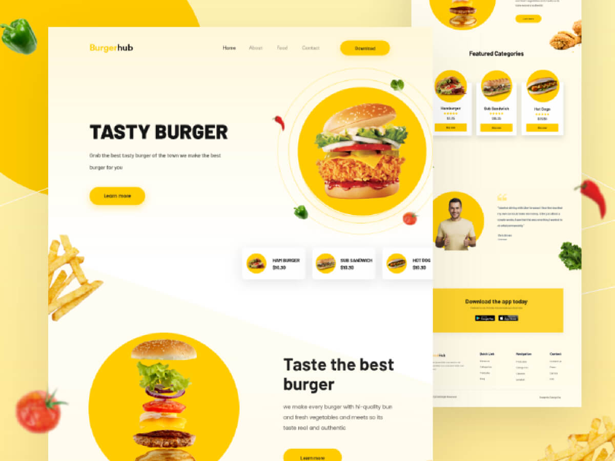 Burger Minimal Landing Page for Adobe XD