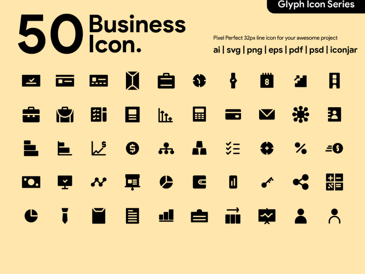 Business Glyph Icons for Adobe XD