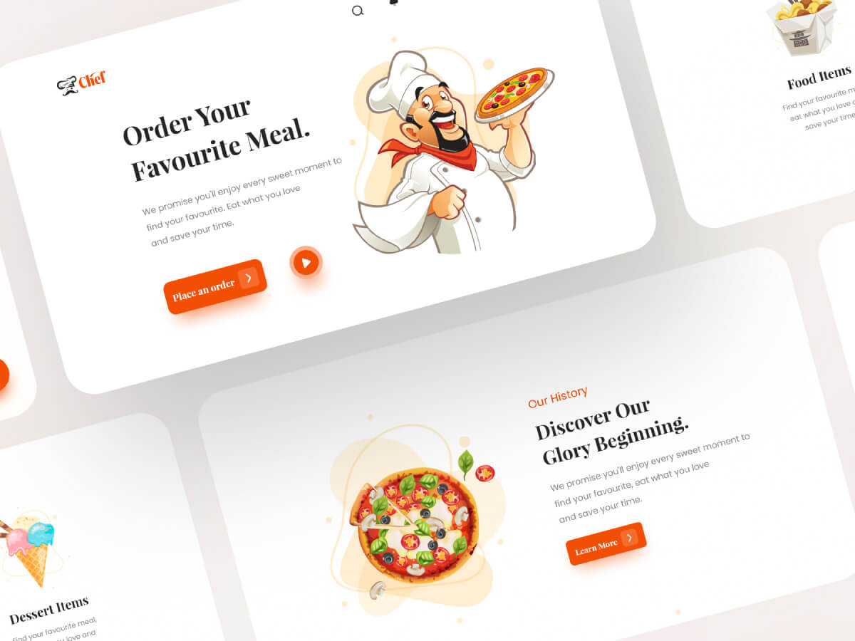 Chef Restaurant Landing Page for Adobe XD