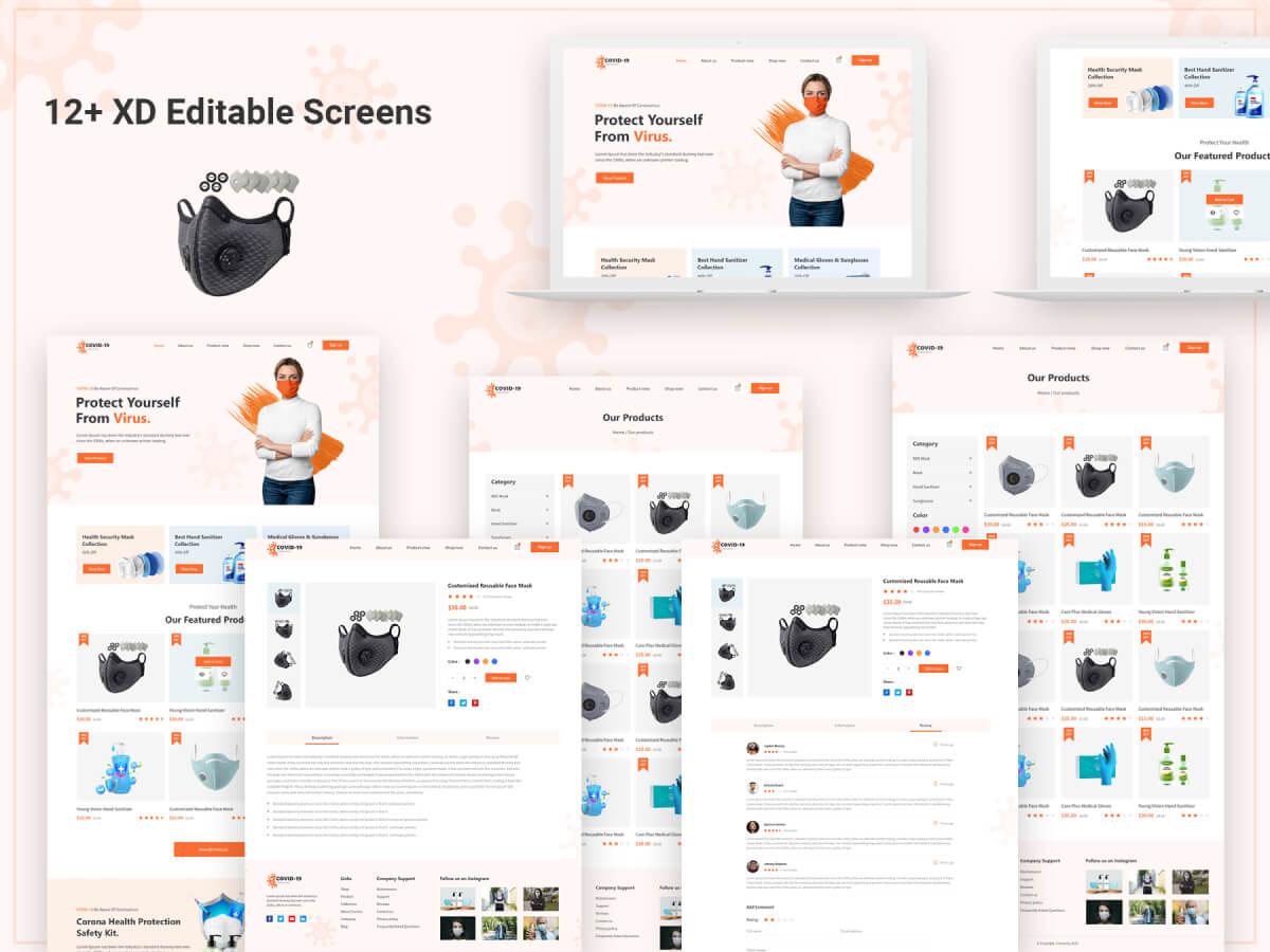 COVID-19 Ecommerce Adobe XD UI Kit