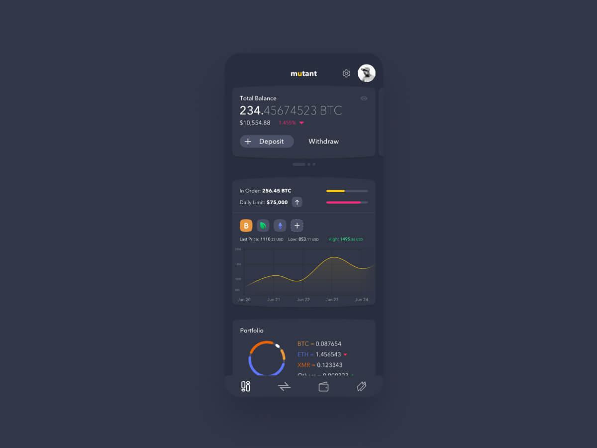 Crypto App for Adobe XD