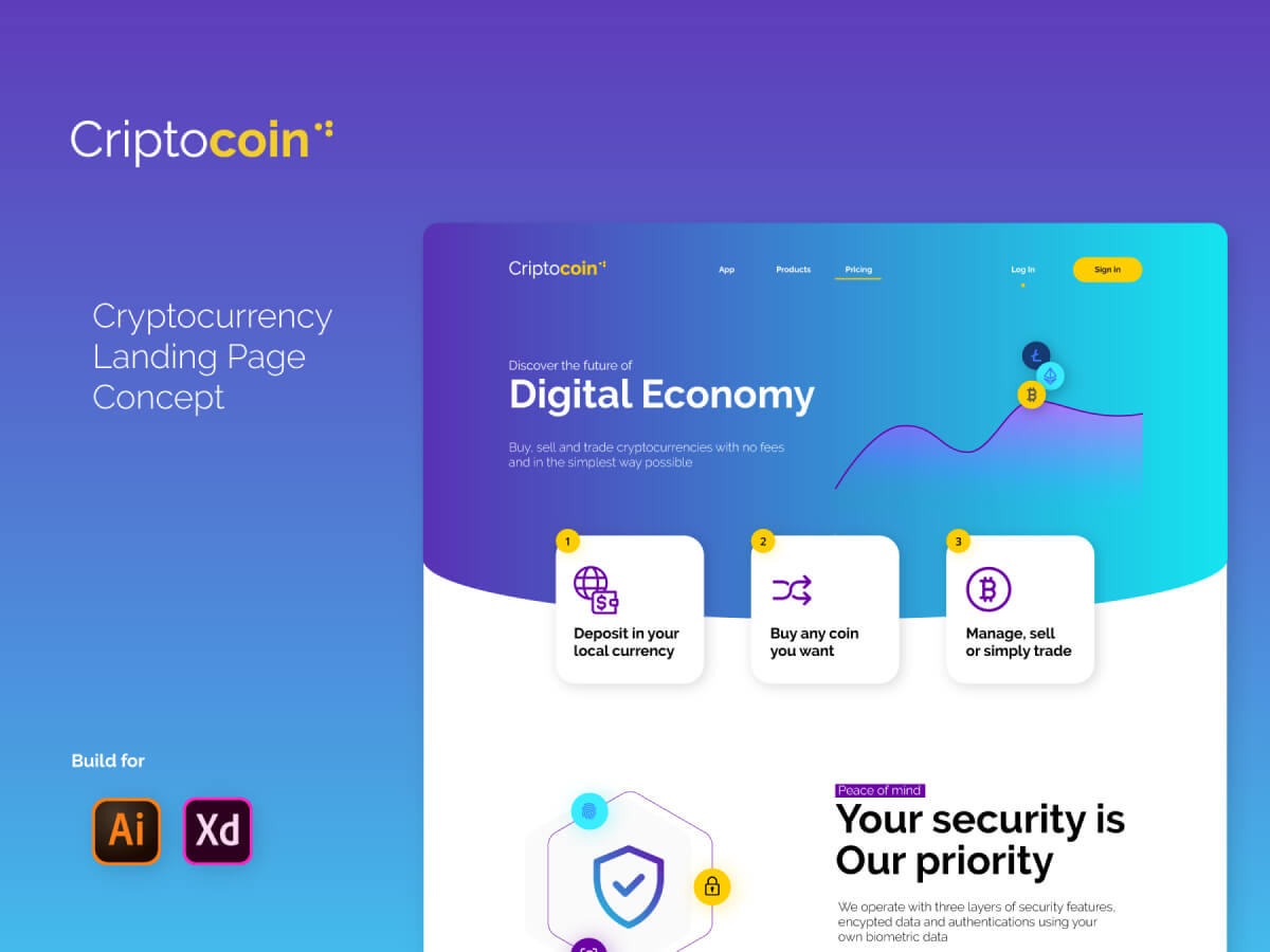 Cryptocoin Landing Page for Adobe XD