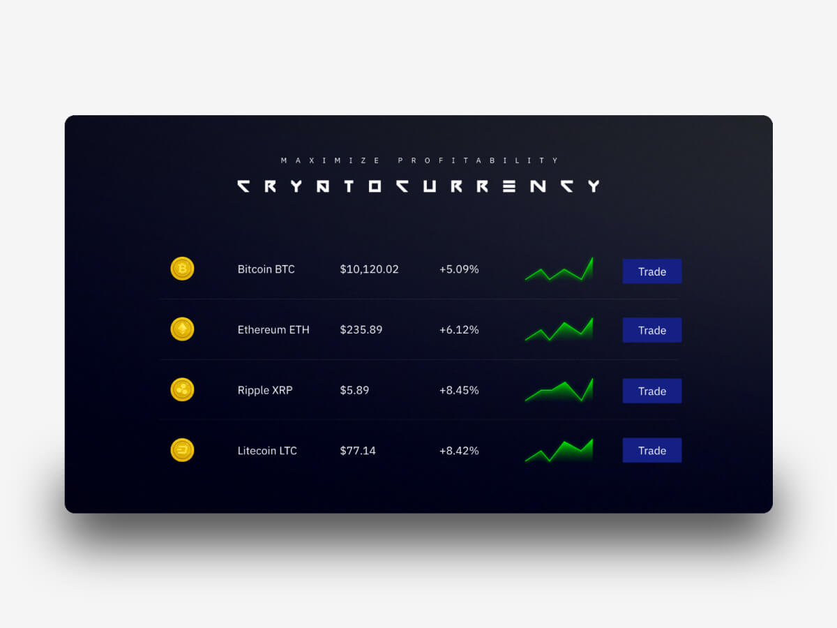 Cryptocurrency Homepage for Adobe XD