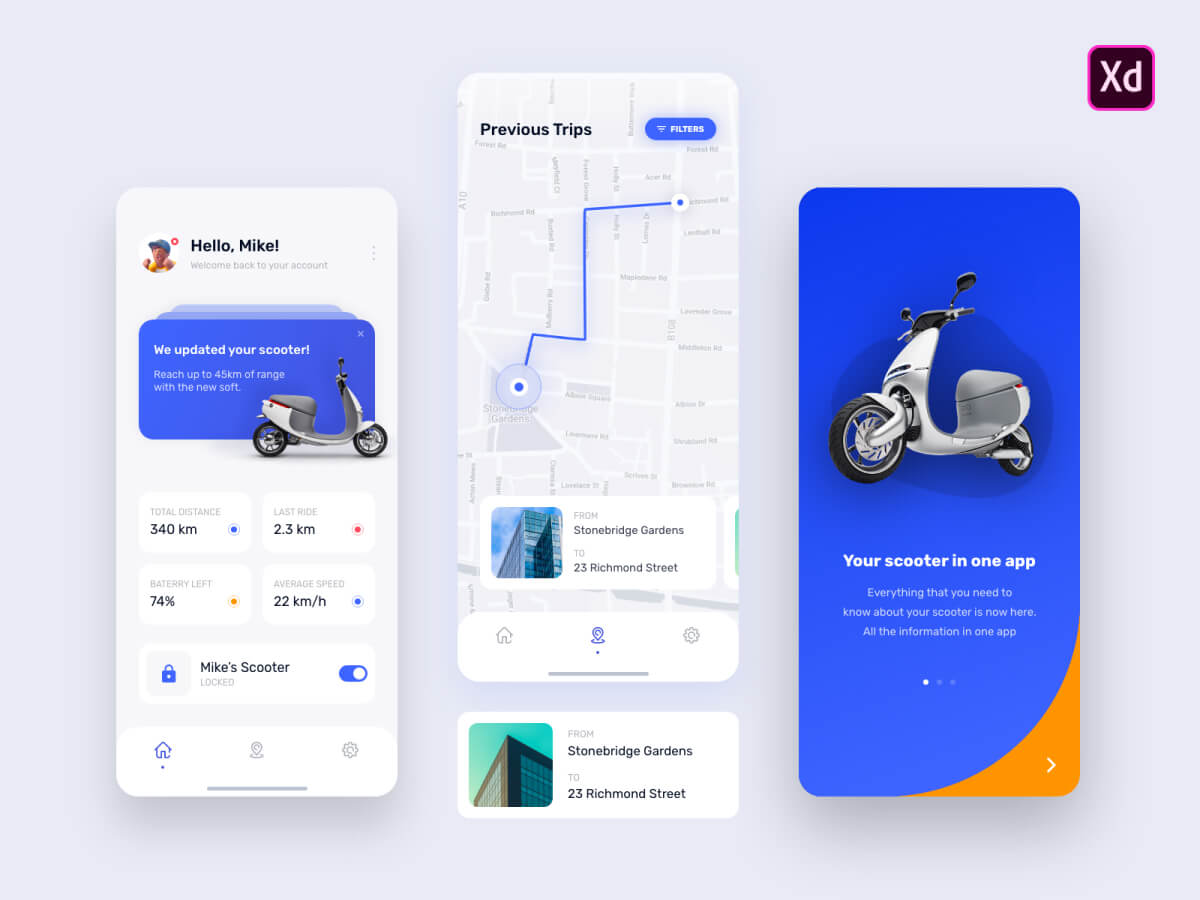 E-Scooter Mobile Adobe XD App UI Kit