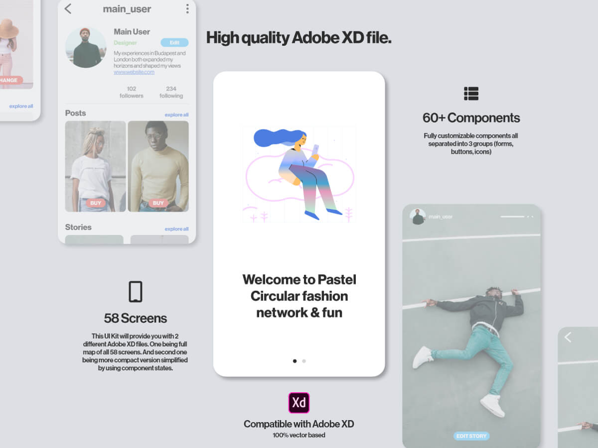 Fashion Network App for Adobe XD