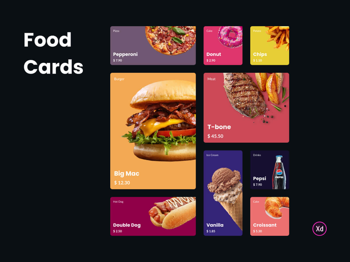 Food Cards Adobe XD UI Kit