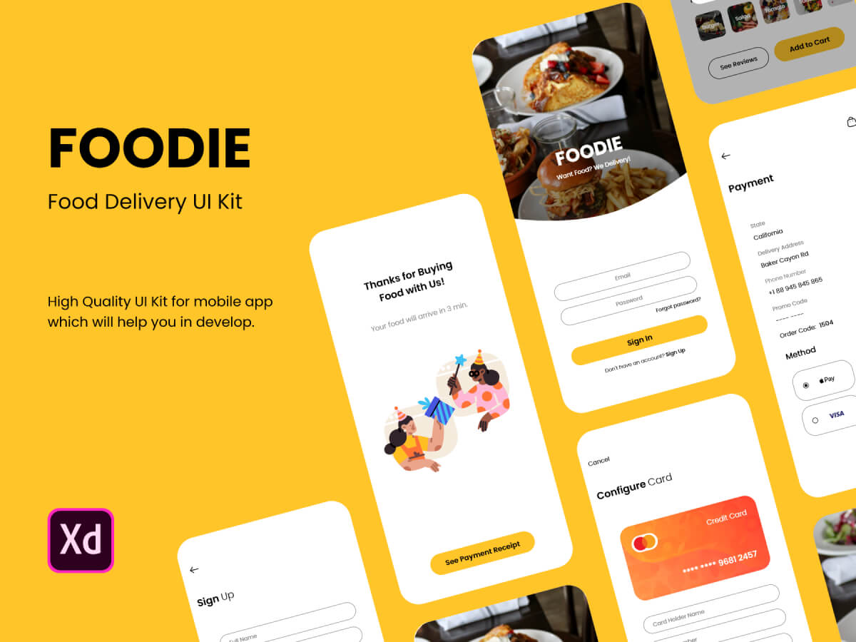 Food Delivery App Adobe XD UI Kit