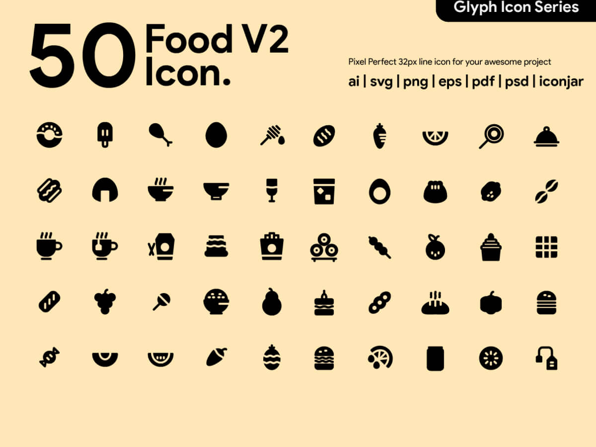 Food Glyph Icons for Adobe XD