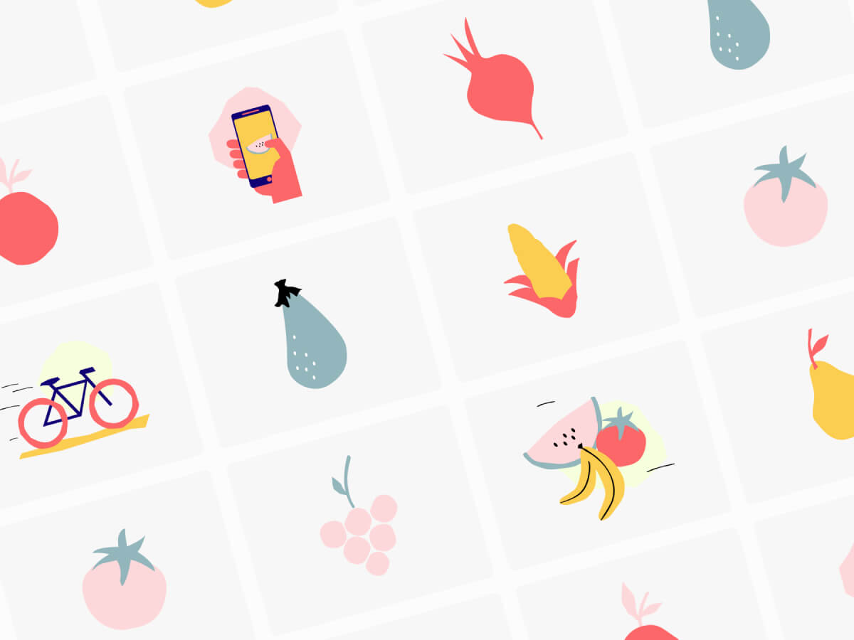 Fruits and Vegetables Illustrations for Adobe XD