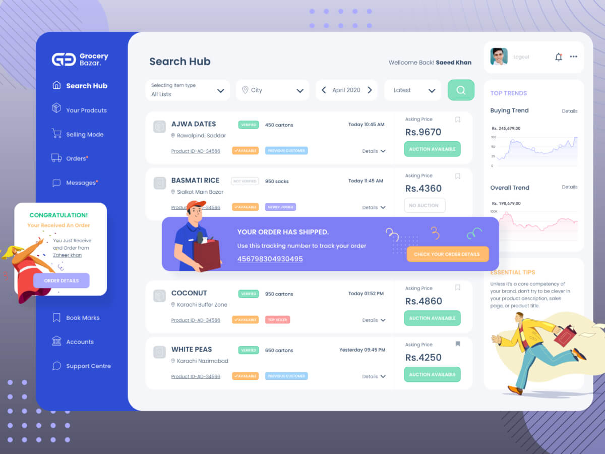 Grocery Dashboard for Adobe XD