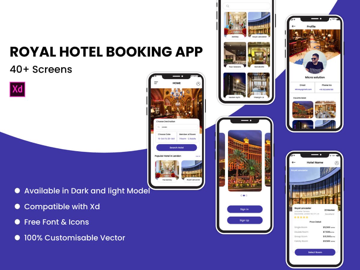 Hotel Booking Adobe XD UI Kit