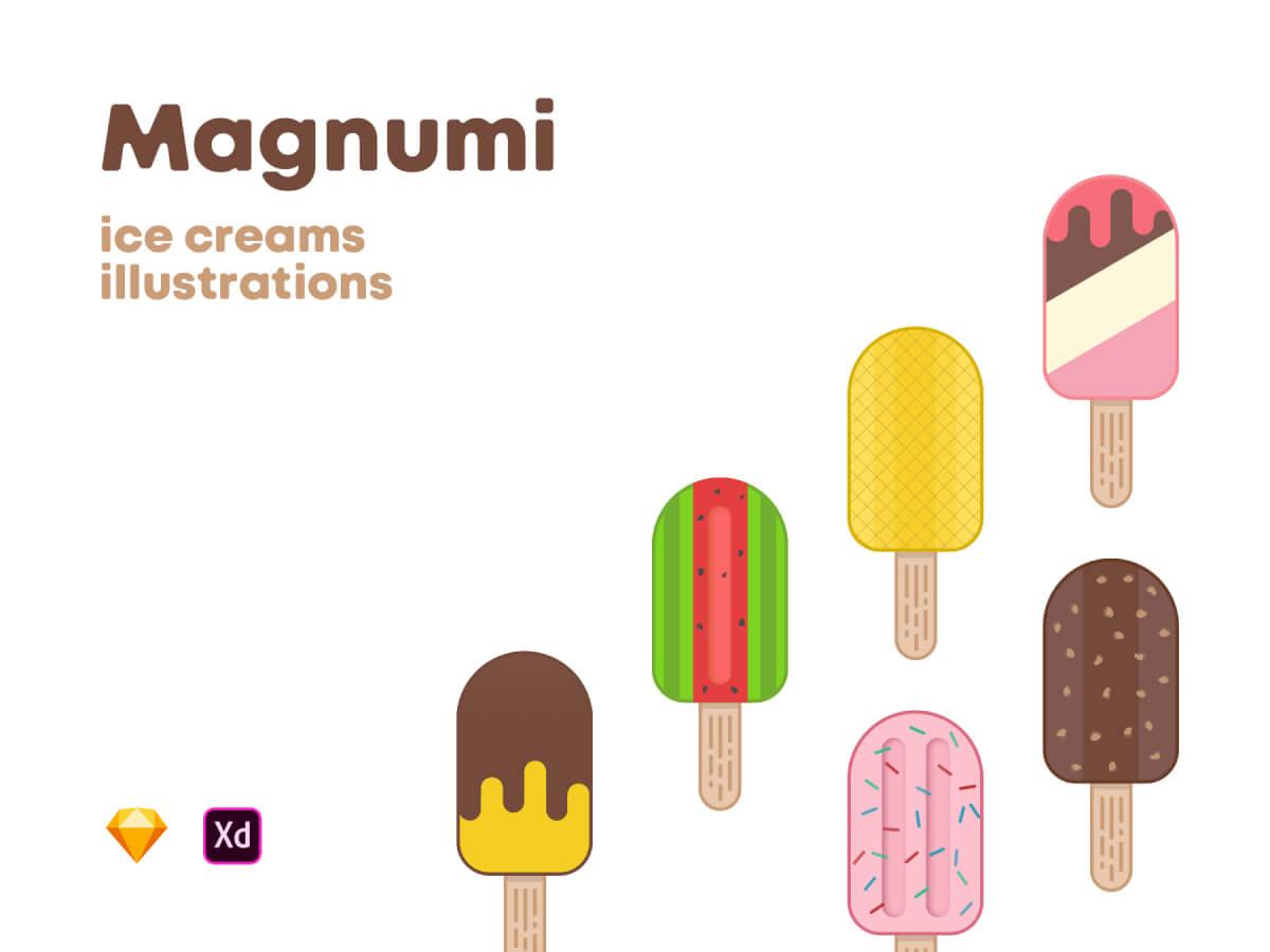 Ice Cream Illustrations for Adobe XD