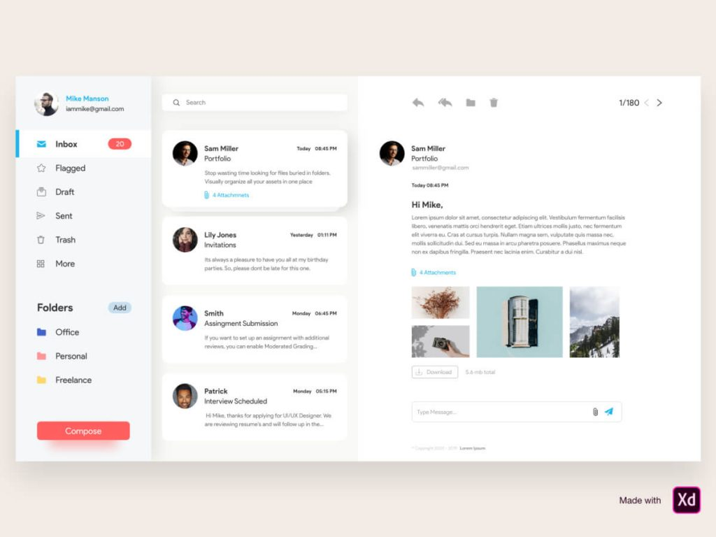 Mailbox Web Adobe XD UI Kit