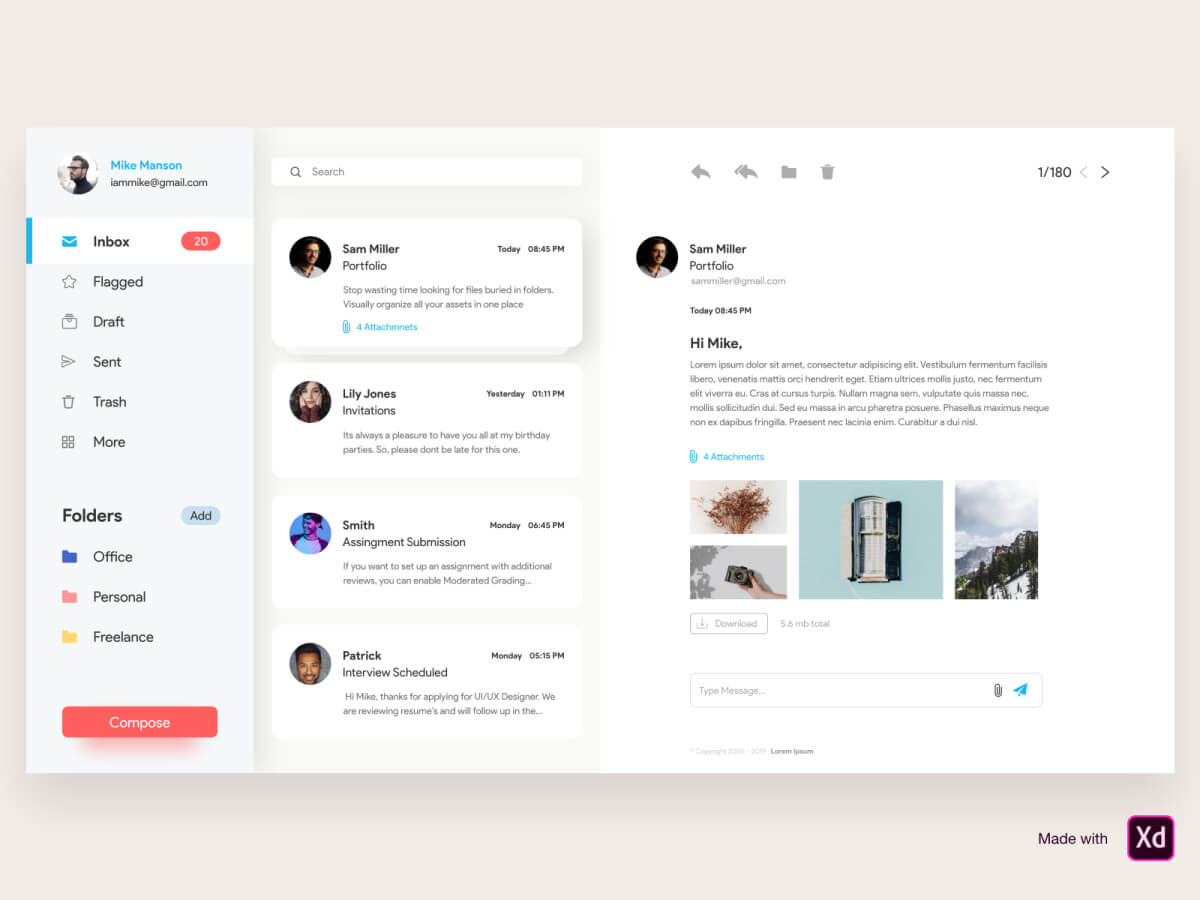 Mailbox Web Adobe XD UI Kit
