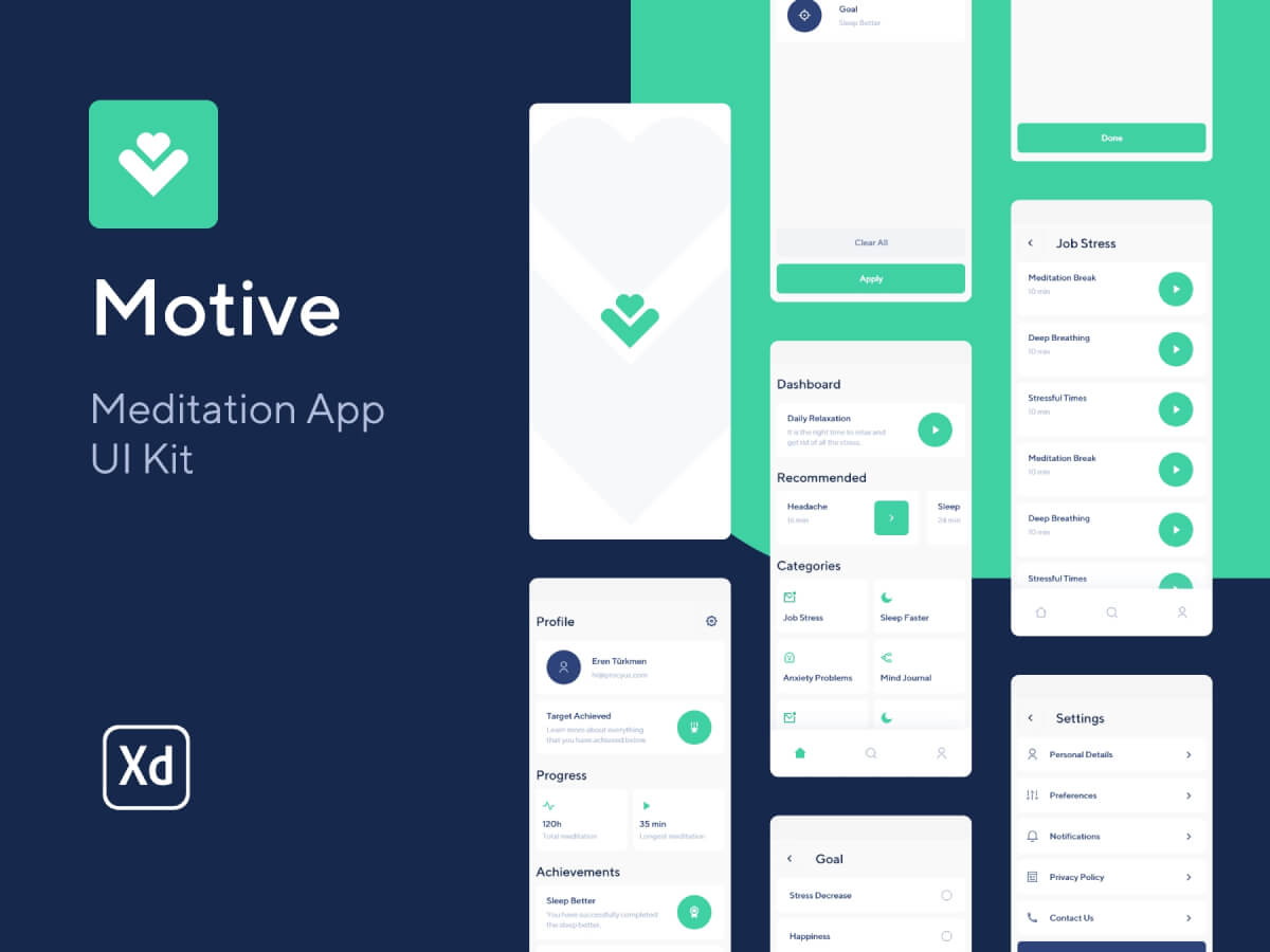 Meditation App Adobe XD UI Kit