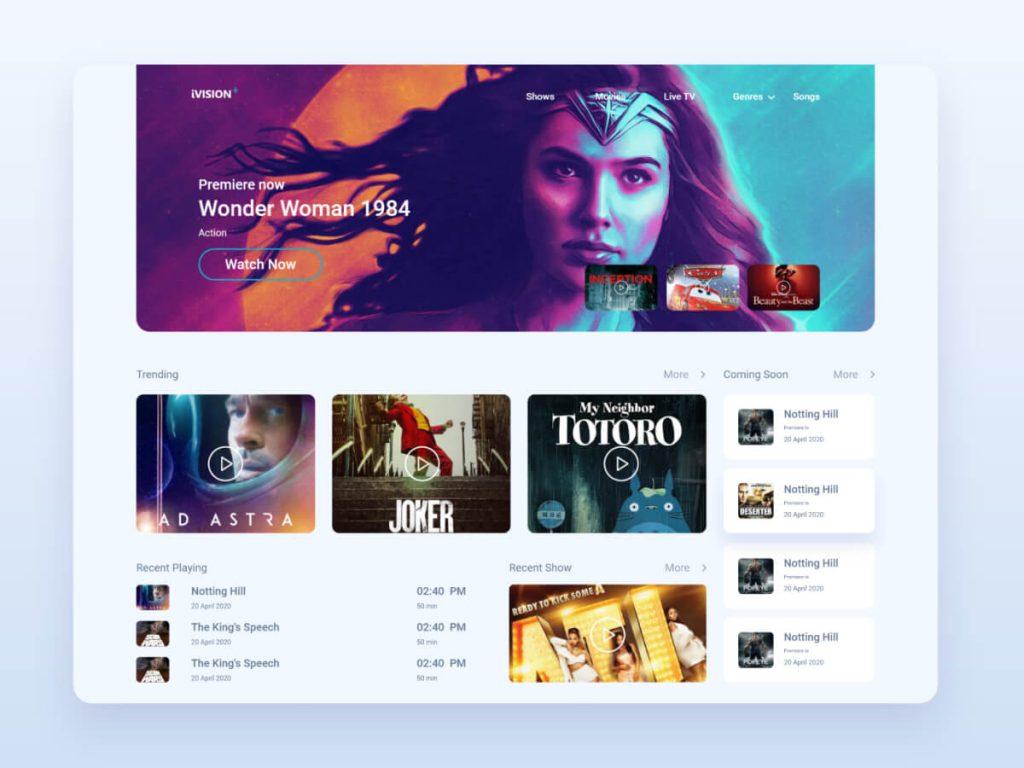 Movies & TV Streaming Platform for Adobe XD