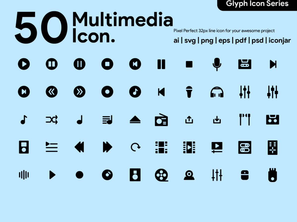 Multimedia Glyph Icons for Adobe XD