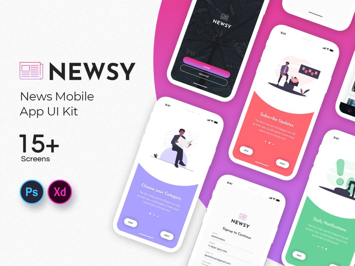 News Mobile Adobe XD App UI Kit