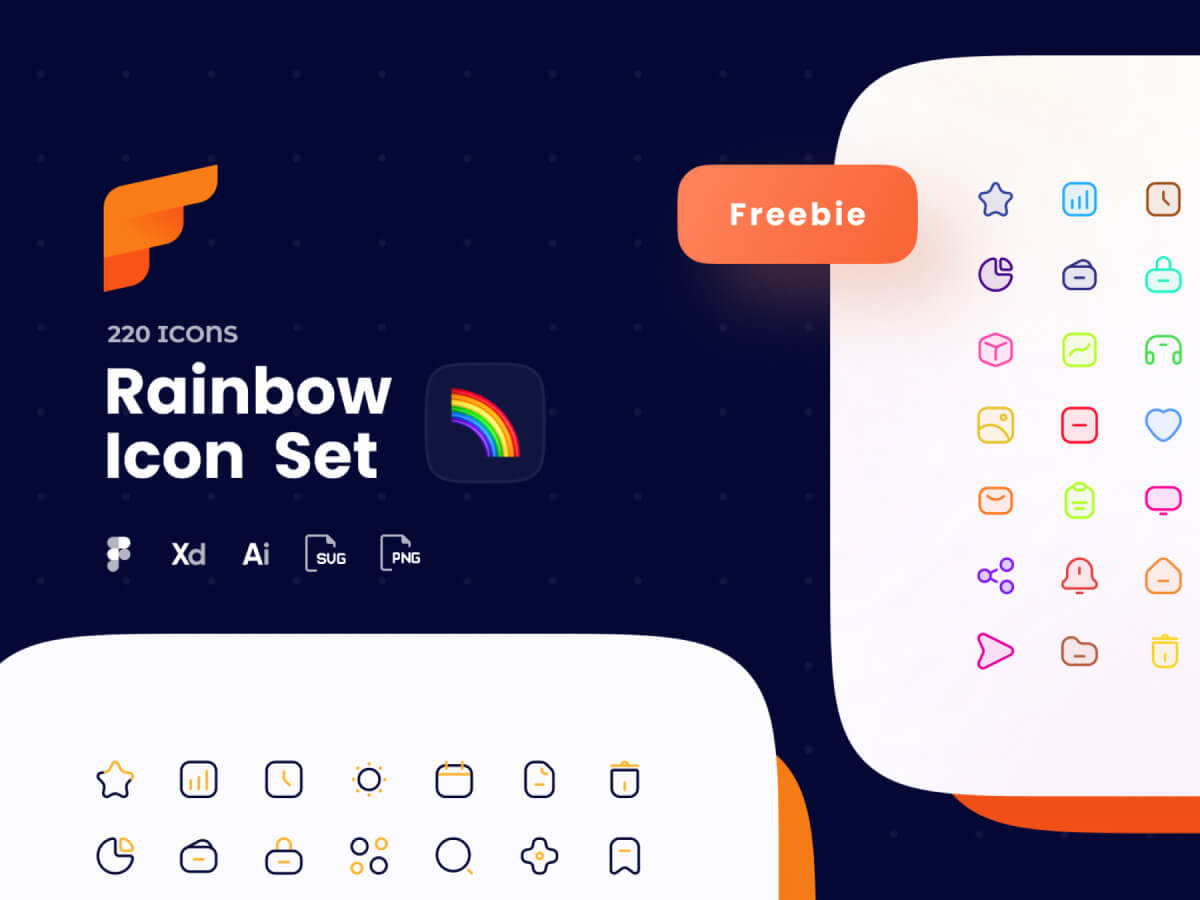 Rainbow Icon Pack for Adobe XD