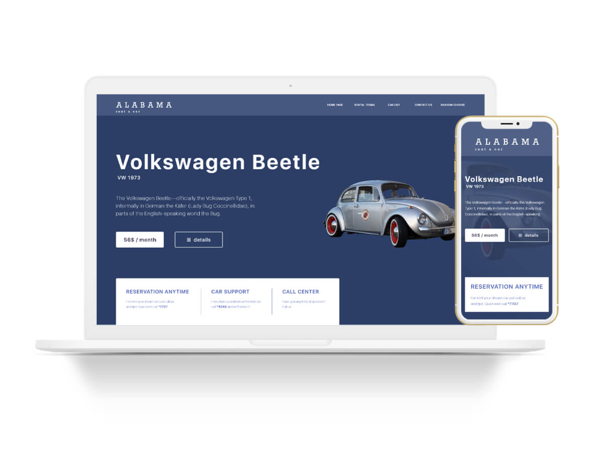 Rent a Car Home Page for Adobe XD