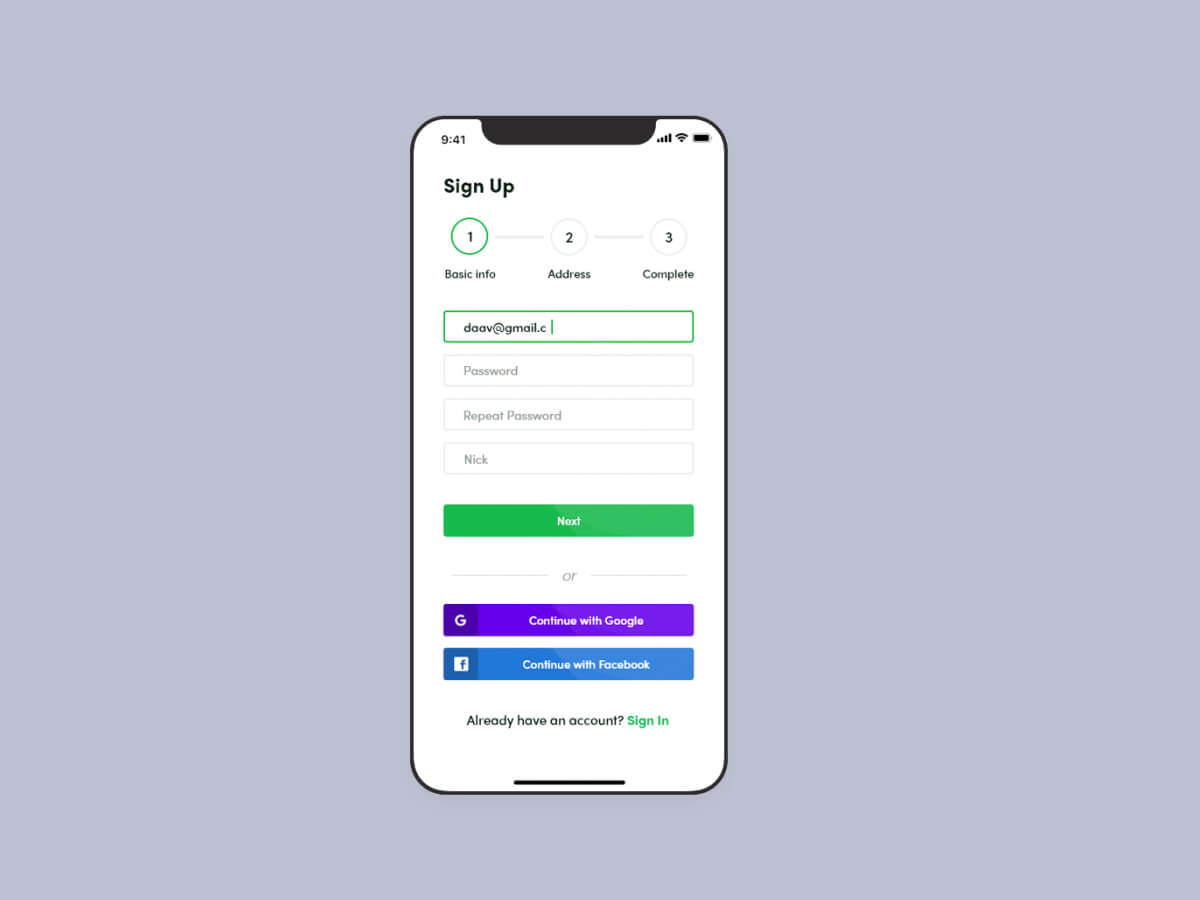Sign Up Panel Template for Adobe XD