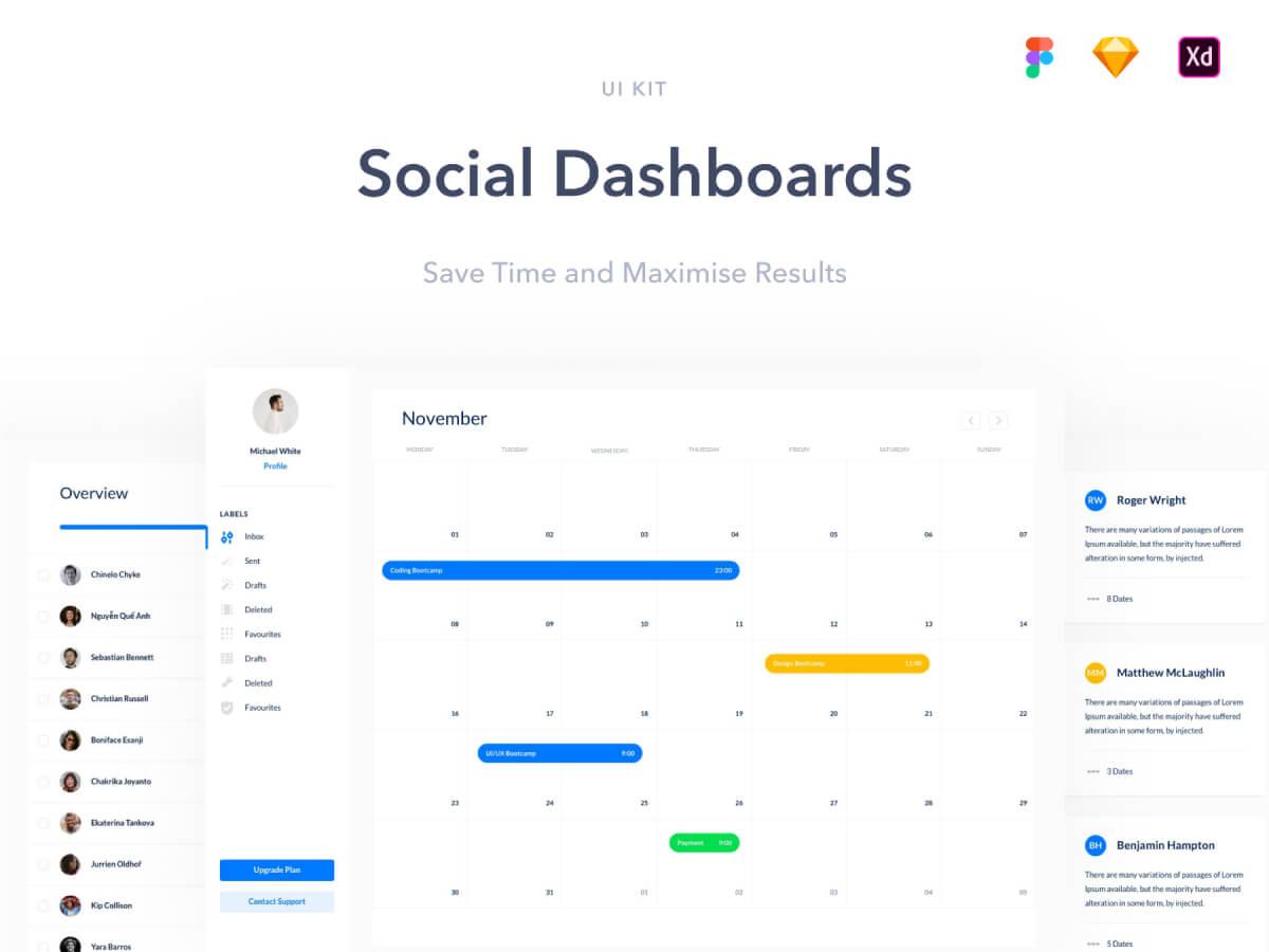 Social Dashboards Adobe XD UI Kit