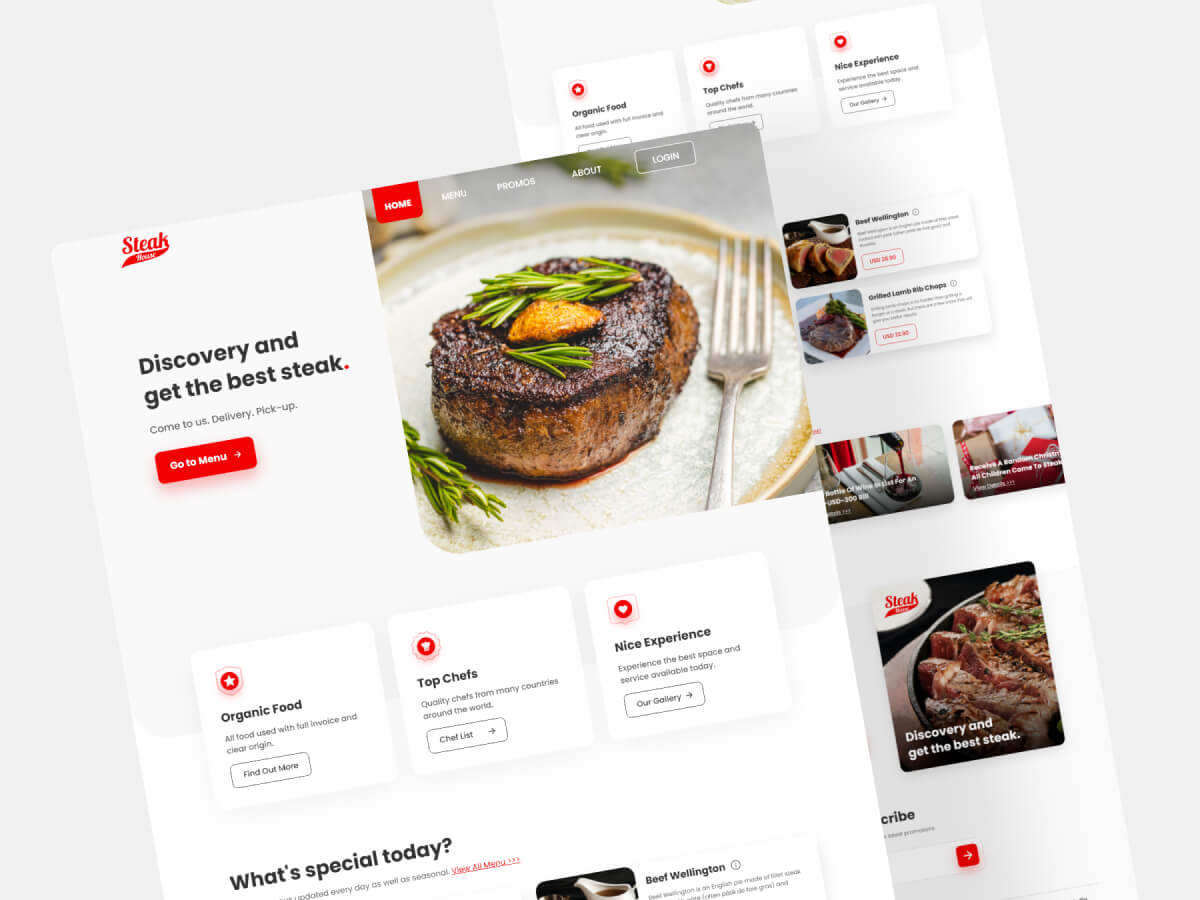 Steak House Landing Page for Adobe XD