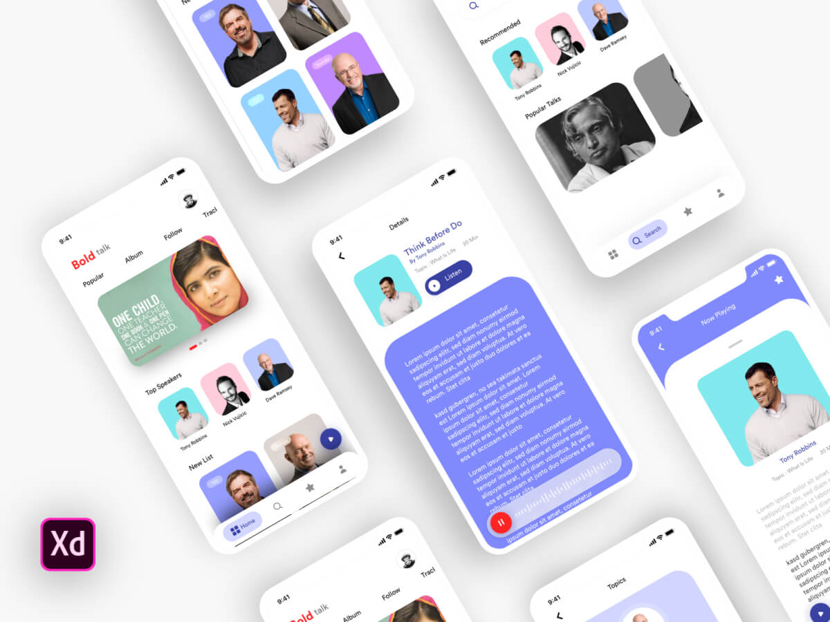 Talk Mobile App UI Kit for Adobe XD