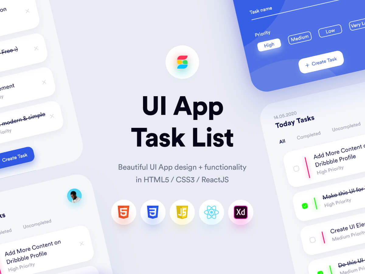 Task List App Adobe XD UI Kit