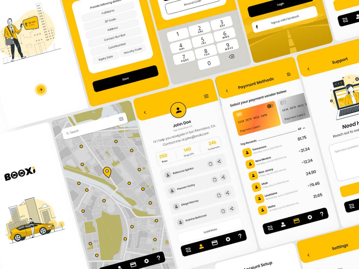 Taxi App Adobe XD UI Kit