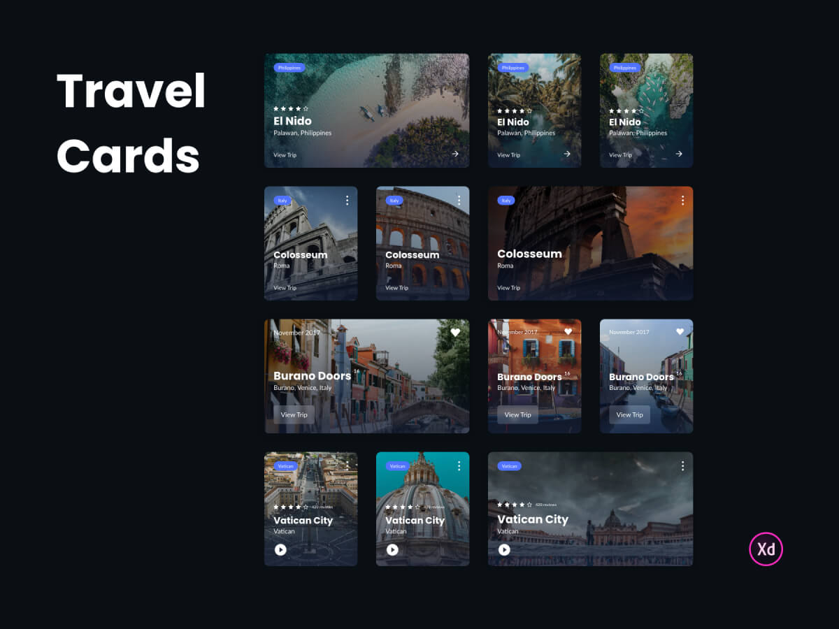 Travel Cards Adobe XD UI Kit
