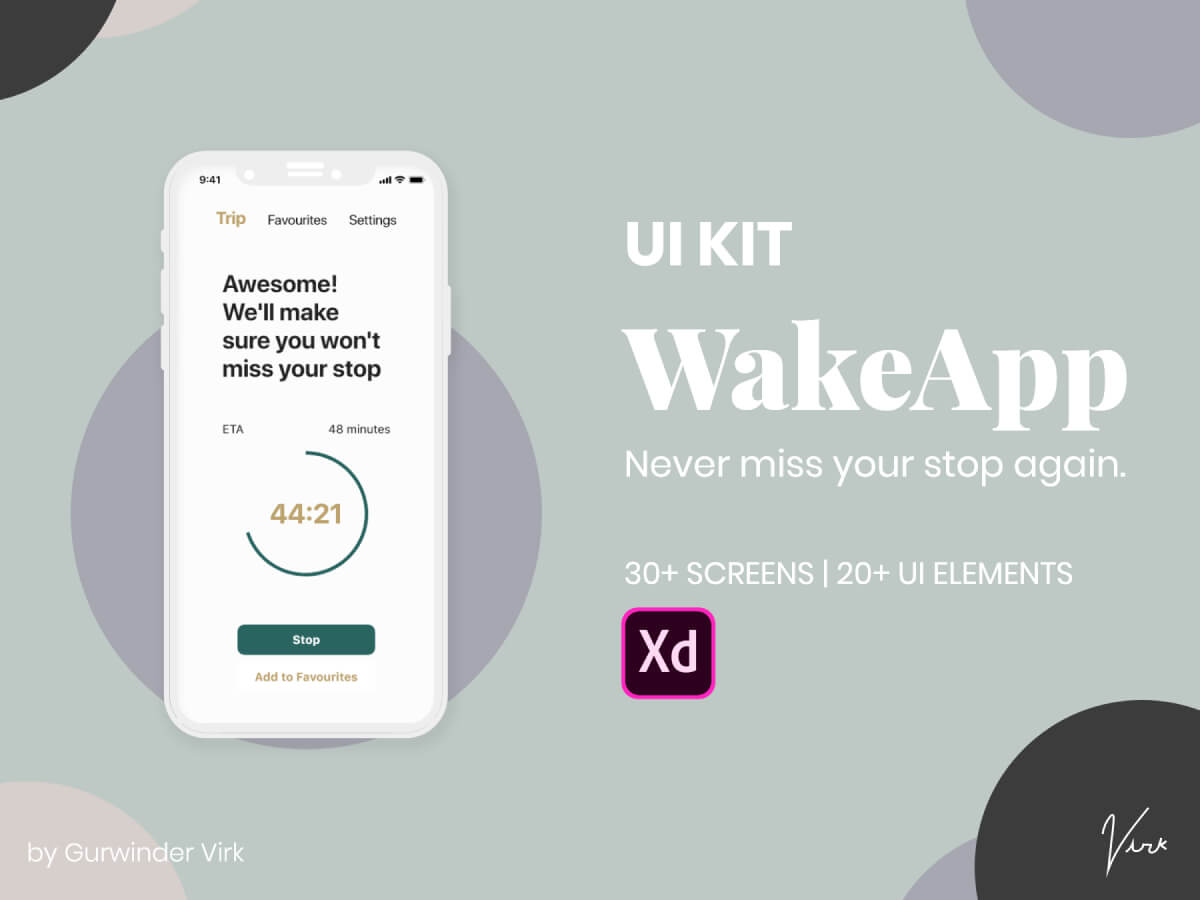 Wake Up App Adobe XD UI Kit