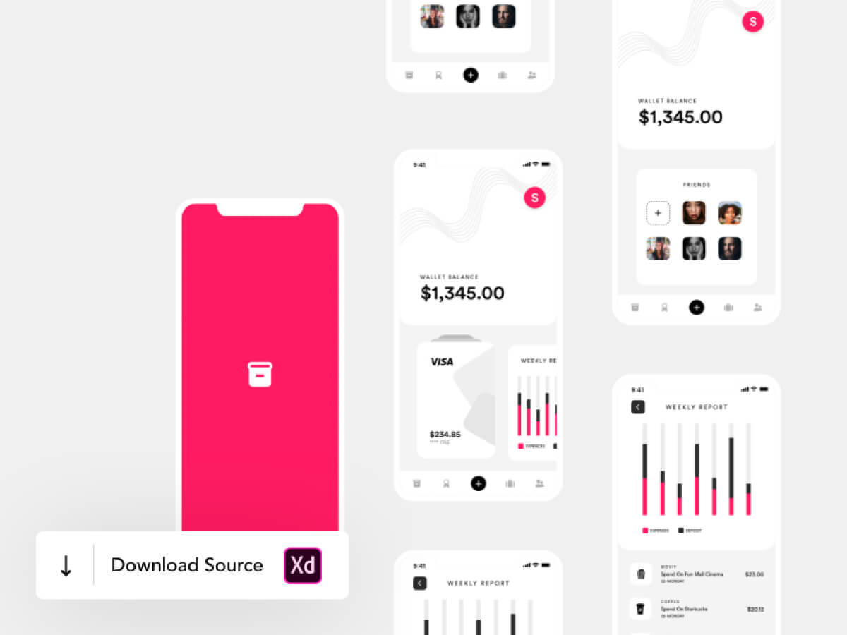 Wallet Mobile Adobe XD App UI Kit