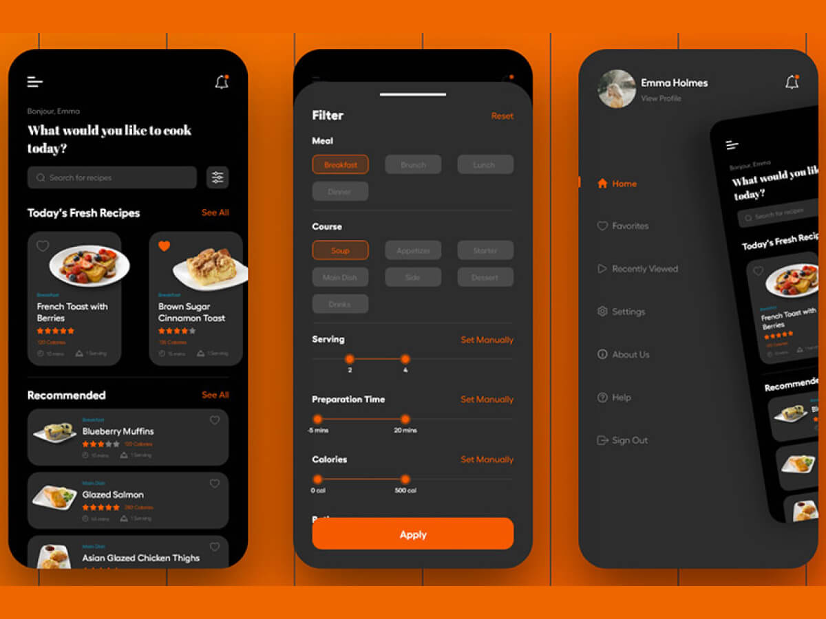 Cooking Dark App Adobe XD UI Kit