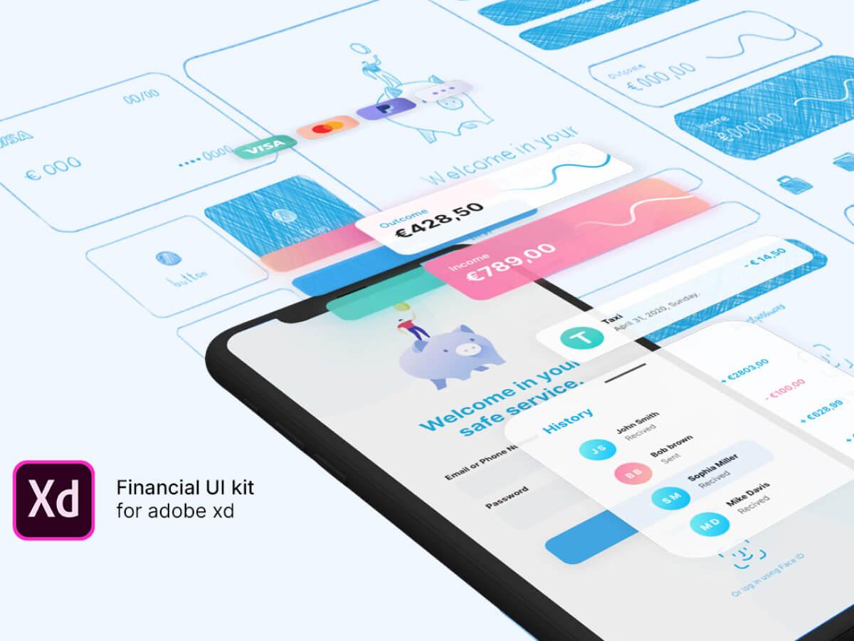 Financial App Adobe XD UI kit