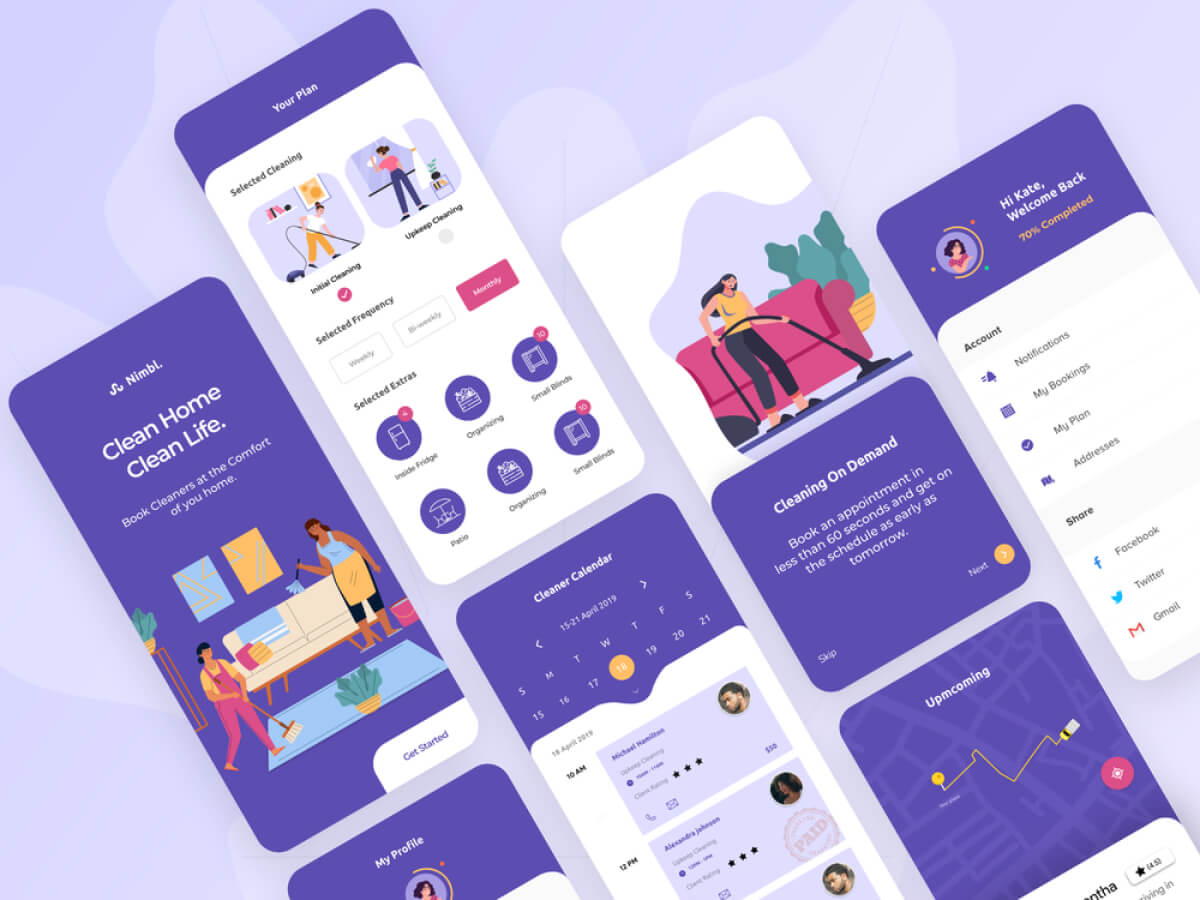Home Cleaning App   Free XD Resource   Adobe XD Elements