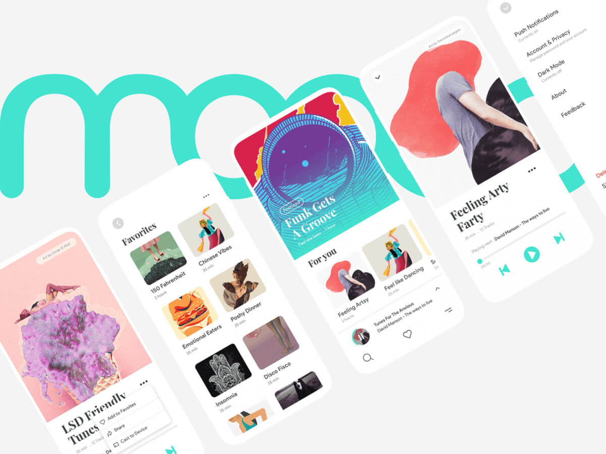 Moood Music App UI Kit for Adobe XD