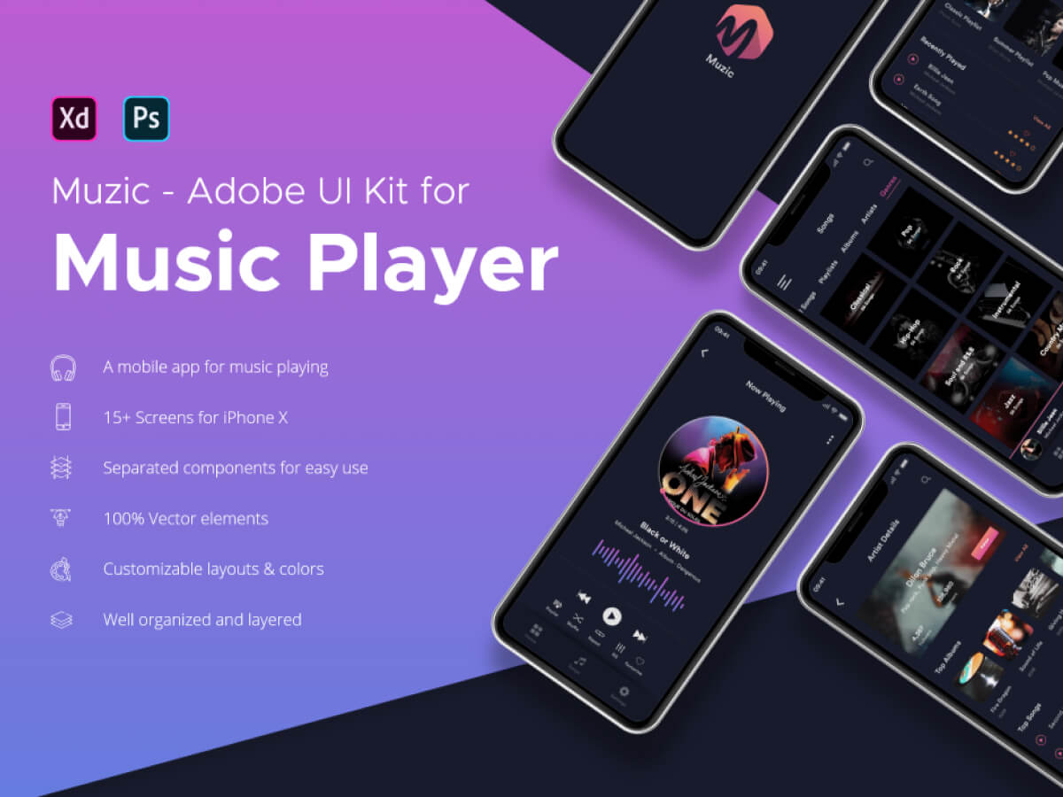 Music Player App for Adobe XD