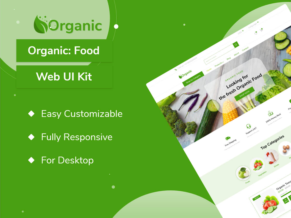 Organic Food Web Adobe XD UI Kit