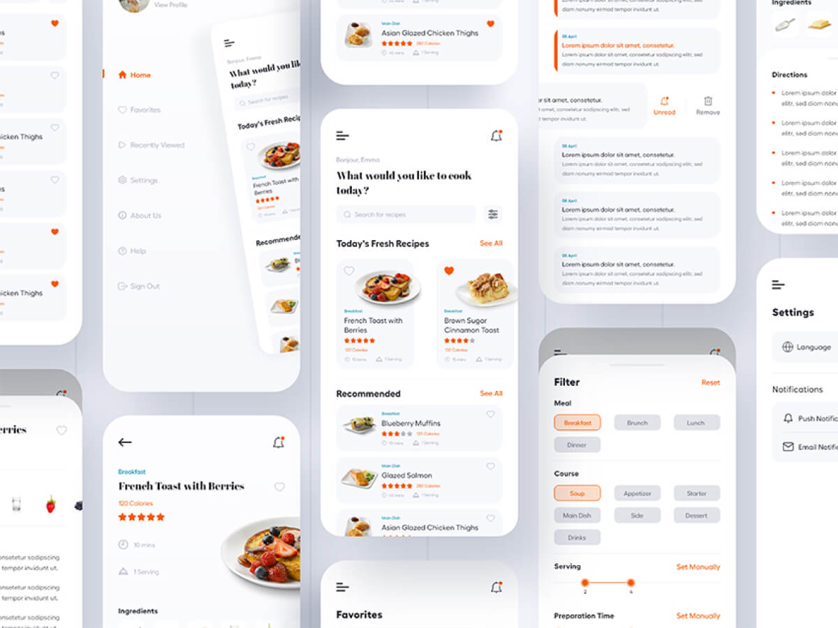 Simple Cooking App Design for Adobe XD