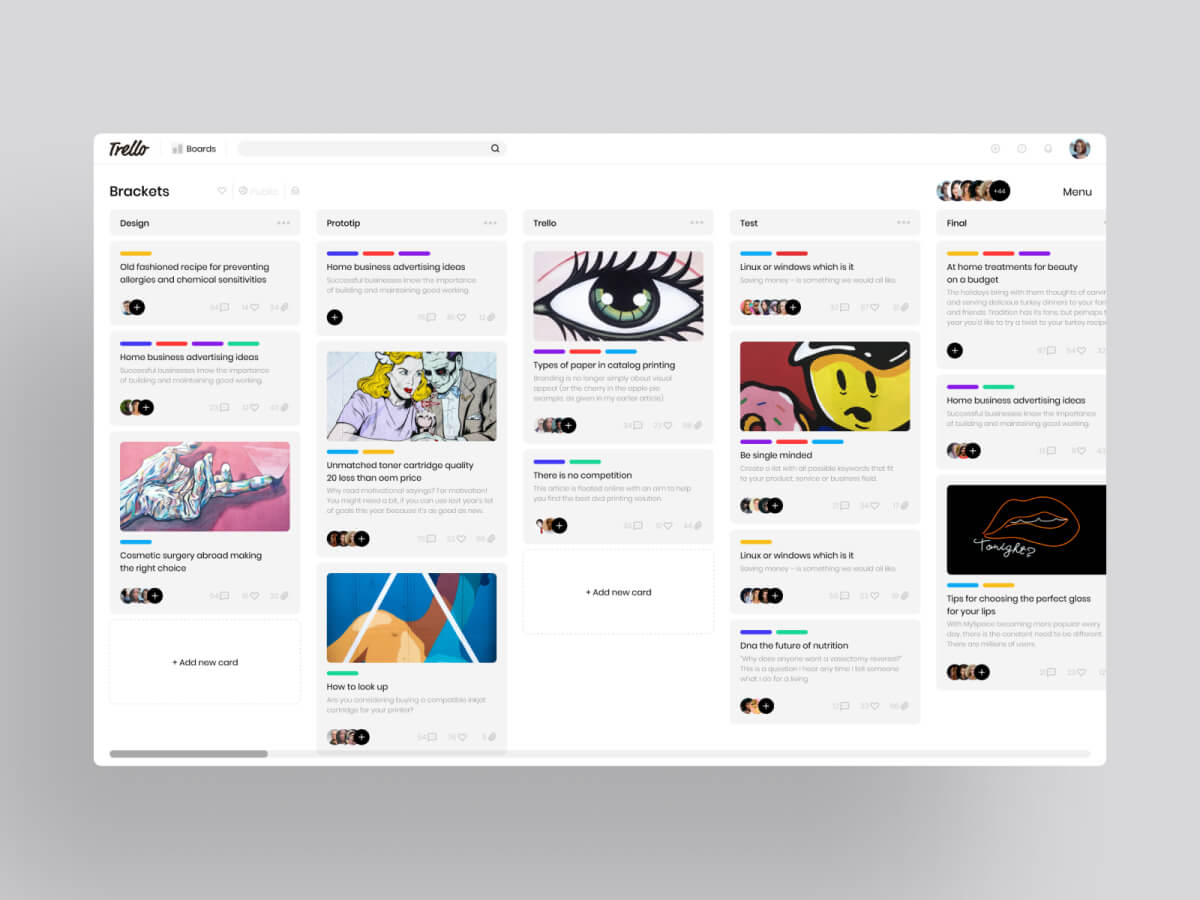 Trello Web Redesign Concept for Adobe XD