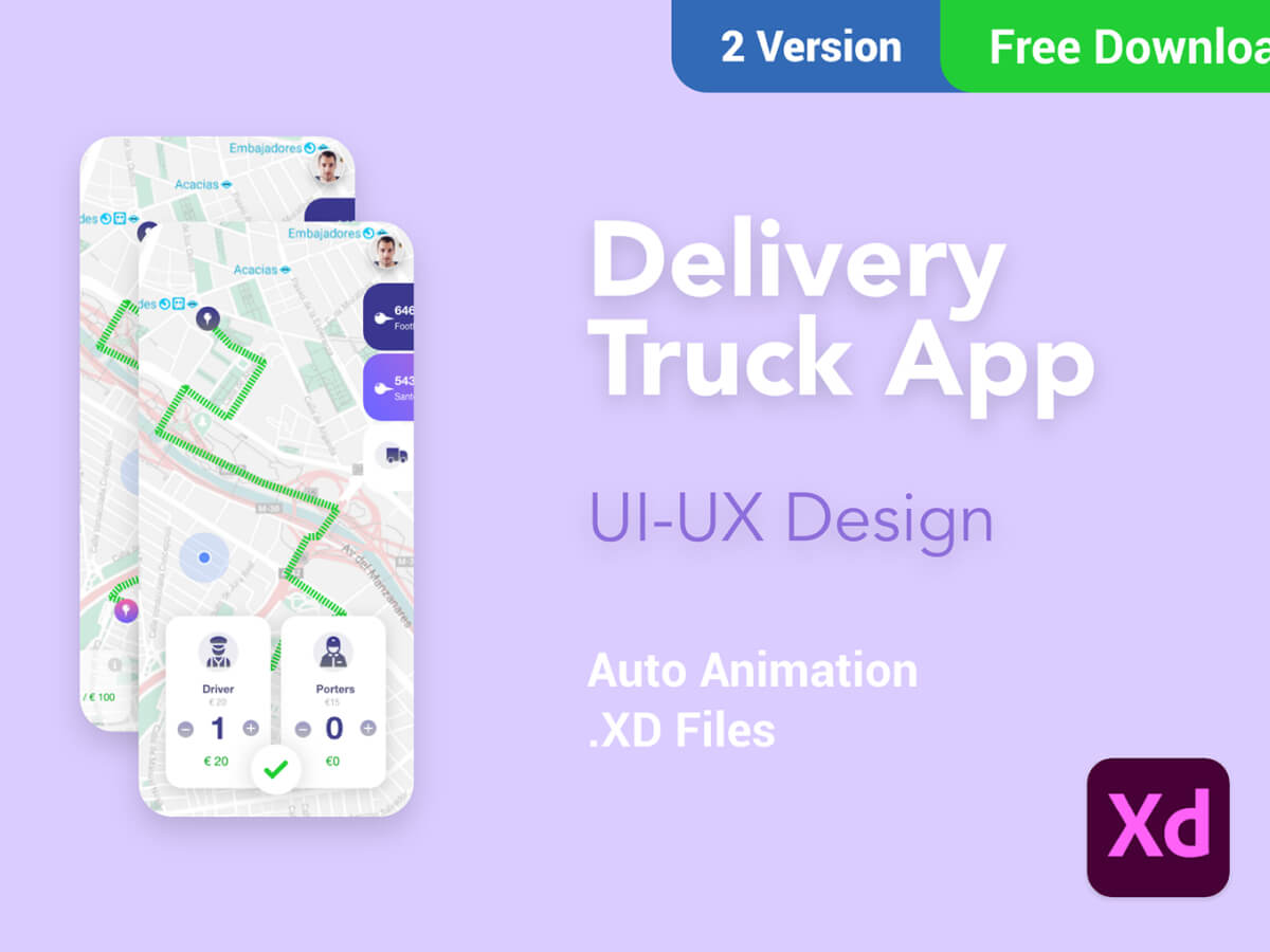 Delivery Truck App Adobe XD UI Kit