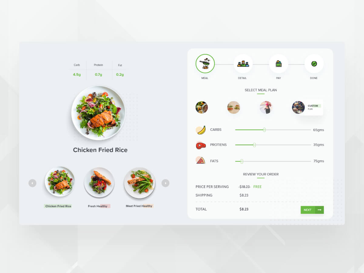Virtual Menu Restaurant Adobe XD UI