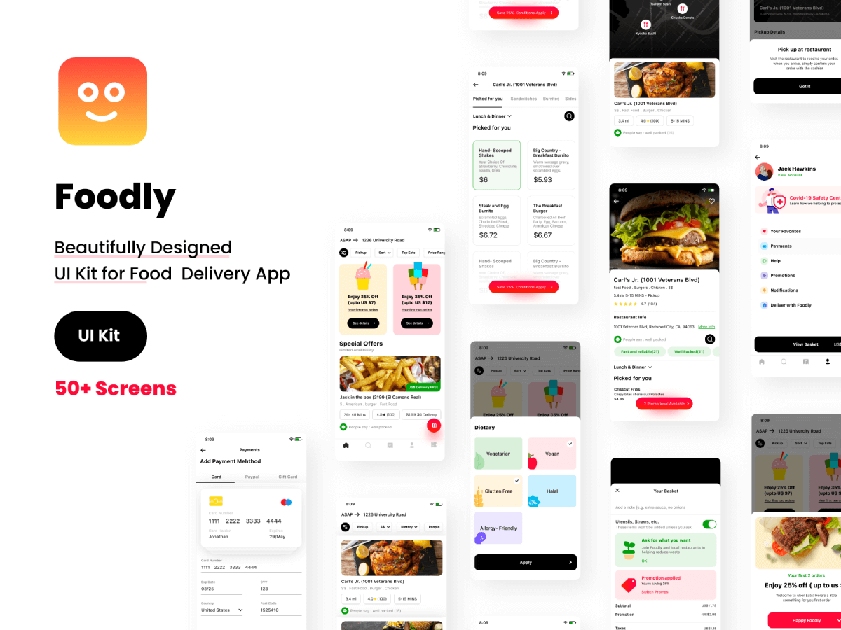 Adobe XD Food Delivery Mobile App